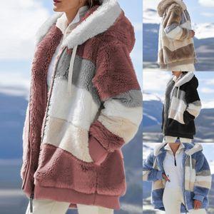 Fall winter loose Plush Hooded Jacket Zipper Long Sleeve Warm Coat Casual Comfortable Fashion Women Clothes E157
