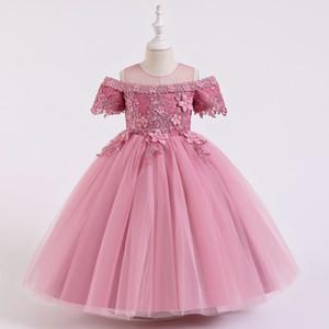 2020 New Children's clothing girl dresses one shoulder flower girl wedding dress lace dress pink 110-160cm