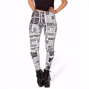 High quality Women Hot Leggings Digital Print Black letter white paper styles womens Fitness Sexy LEGGING Drop shipping