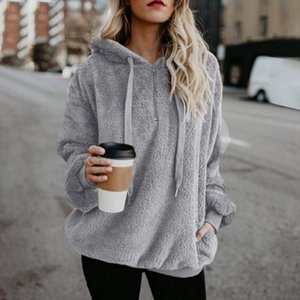 Plus Size Drawstring Sweatshirt Autumn Women Faux Fur Teddy Coat Casual Pullovers Fluffy Hoodies Tops Long Sleeve Hoodies