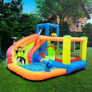 Aufblasbare Außenwasserrutsche mit Schwimmbad und Waffe Slide Bouncer Castle Waterslides für Kinder Vergnügungsparkausrüstung1