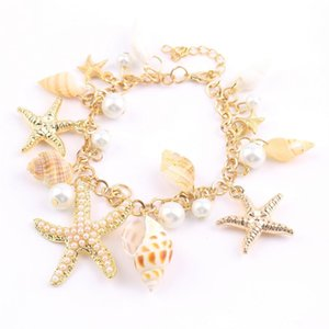 Moda Oceano multi Starfish Sea Star Conch Shell Pérola Pulseira Cadeia Praia Ocasião: Aniversário, acoplamento, presente, casamento.