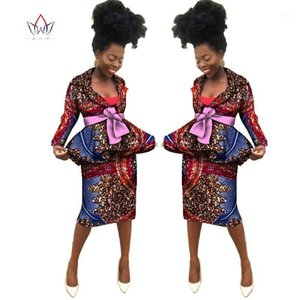 Estate New African Skirt Suits Dashiki Donne Elegante Signora Casual Set Femme Bazin Riche Cotton Plus Size Due pezzi BRW WY18391