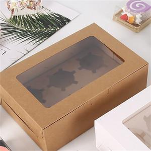 Transparent Fenster Muffin Cupcake Box Geschenke Kuchen Desserts Lebensmittel Lagerbehälter Backen Verpackung Organizer Kraftpapier Neue 0 75bg F2