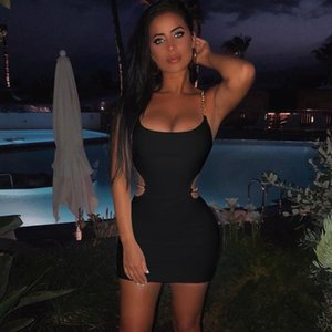 Toplook Chains Dress Sexy Women Summer 2020 Spaghetti Strapes Sleeveless Hollow Out Black Mini Dresses Club Party Sundress