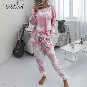 Fsda 2020 Women Tie Dye Long Sleeve Top Shirt o Neck and Pants Tracksuit Two Piece Set Casual Outfit Lounge Wear