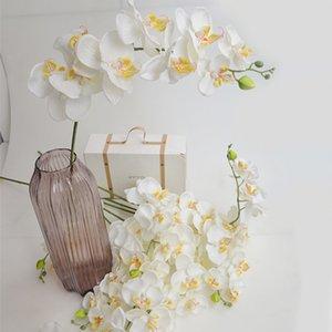 Flores de orquídea blanca de seda artificial de alta calidad Polaja de mariposa de alta calidad Phalaenopsis Flor falsa para la decoración del festival del hogar de la boda
