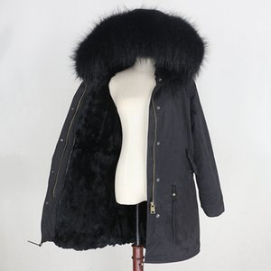 2020 Parka Winter Coat Women with Fox Fur Collar Female Real Fur Detachable Outerwear Thick Black