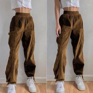 Wiccon Kadife Pantolon Womne's Bahar 2021 Yeni Elastik Yüksek Bel Cep Kravat Ayak Gevşek Kadın Katı Renk Pantolon1