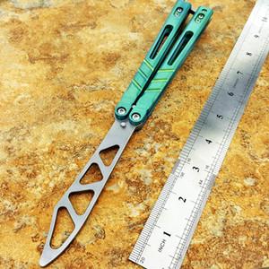 Balisong sandviç D2 bıçak titanyum kolu kelebek eğitmen eğitimi bıçak değil keskin El Sanatları Dövüş sanatları Koleksiyon knvies şimdi hediye