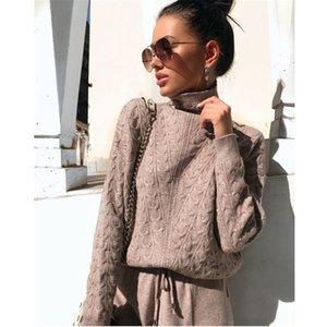 MVGirlru Autumn Damen Trainingsanzug Pullover gestrickter High-Hals-Sportanzug