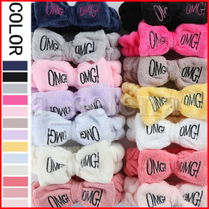 OMG Letter Coral Fleece Wash Face Bow Hairbands for Women Girls Headbands Headwear Hair Bands Turban Hair Accessoriess