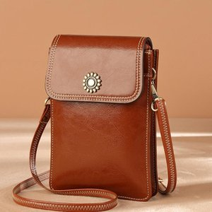 Design mobile phone bag ladies classic fashion brown leather mini bag ladies casual one-shoulder diagonal coin purse gift 138