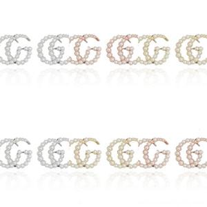 H1TxC Brinco Pendente com a cor de diamantes em twofor brinco encanto G carta de pérola de jóias mulheres transporte da gota presente de casamento