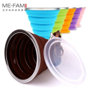 Ultra-thin Silicone Folding + Dstproof Cover Outdoor Coffee Cups Children Available Travel Copa Telescopic Sport Water Cup Q1218