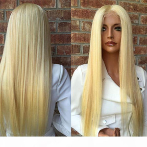 150 Density Brazilian Honey Blonde Human Hair Lace Front Wigs Color 613# Straight Thick Glueless Full Lace Human Hair Wigs With Baby Hair