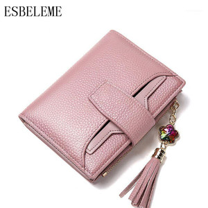 ESBELEME Women Genuine Leather Short Wallets for Female Tassels Money Clip Black Blue Purple Pink Cow leather Ladies Purse YG2541