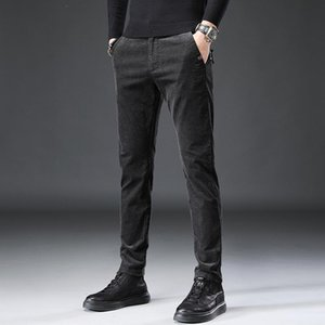 Autumn Winter Newly Fashion Men Jeans Slim Fit Casual Corduroy Long Pants Homme Black Brown Gray Leisure Business Smart Trousers
