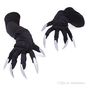 Halloween Gloves Horrible Skeleton Finger Bone Ghost Claw Printed Long Sleeve Washable Arm Warmers Scary Cosplay Costume Decor