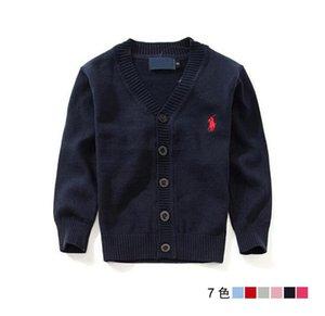 2020 de los nuevos niños ropa de marca Top 100% de algodón para bebés suéter de la alta calidad de los niños prendas de vestir exteriores del suéter de la muchacha del muchacho del suéter con cuello en V suéteres del polo -2