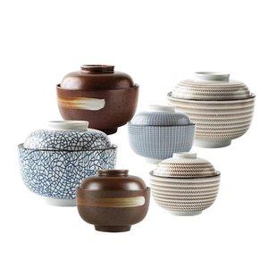Zen Spirit Bol japonais avec couvercle pour la soupe de nouilles de riz Vintage sous-allongée Bols de céramique à la main Saint Tureen 4,5 pouces 6,5 pouces Yassb
