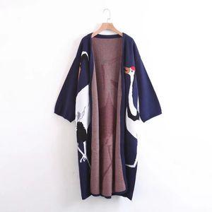 Twotwinstyle Stork Cardigan suéter para mujer invierno jersey abrigo femenino kimono vintage punto largo trinchera viento y200116