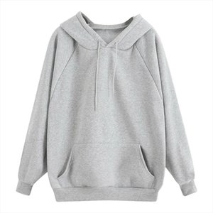 Hoodies Women Thick Loose Sweatshirt 10 colors Harajuku Solid Color Hooded Pocket Long Sleeve Pullover Sweatshirt Dropship d5