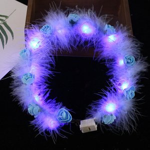 LED Tüy Hairband Işık Ebedi Garland Işık Up Saç Çelenk Noel Parlayan Çelenk Parti Çiçek Kafa Dekorasyon GGA384 61 J2