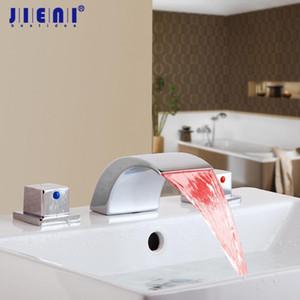 JIENI الطاقة المائية التحكم في درجة الحرارة LED حمام الشلال الحنفية الصلبة براس حمام صنبور المياه خلاط صنبور