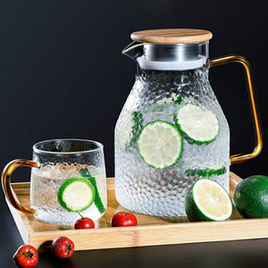 Transparent Glass Water Jug Hot Cold Water Tea Pot Glass Stainless Steel Flow Lid Water Carafe with Handle Heat-proof Teapot Set