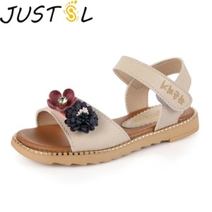 JUSTSL Girls Beach Sandals New Children Princess Flowers Shoes Kids Summer Flat bottom casual shoes size 26-36 1007