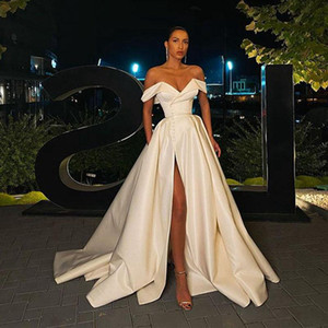 Modern Sexy High Side Split Wedding Dresses with Pockets Buttons Vestidos De Novia Sweetheart Off Shoulder Bride Gowns