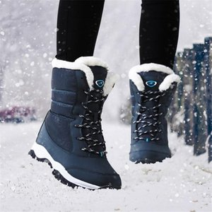 okkdey 2020 new Womens Boots Keep Warm Waterproof Wedges Platform Snow Boots Ladies Female Winter Fur Ankle Shoes Woman