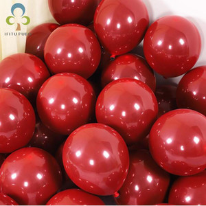 20 10pcs 10inch Dark Red Latex Balloons Double Layer Balloons Wedding Decorations Helium Globos Birthday Party Decorations GYH