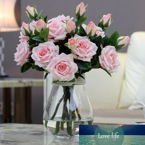 2 Heads bouquet Luxury Elegant Artificial Flowers Real Touch Vivid Roses Fake Silk Flowers Bride Wedding Decoration Home A1155