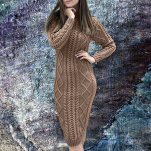 Women's Fashion Long Sleeve Turtleneck Sweater Dress Solid Slim Thick Warm Knit Pullover Midi Dresses Casual women Clothes