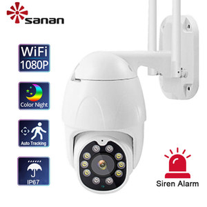 SANAN 1080P Auto Tracking IP Camera PTZ WiFi Outdoor Full Color night vision Siren Alarm Dome IP67 Surveillance Camera CamHi Pro