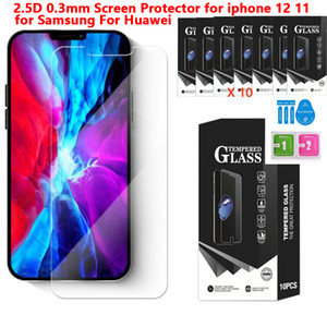 2.5d 0.3mm Tempered Glass Clear Screen Protector for For Iphone 12 11 Pro X XR XS MAX 7 8 6 LG Stylo 6 Samsung A11 A21 A41 A71 a81