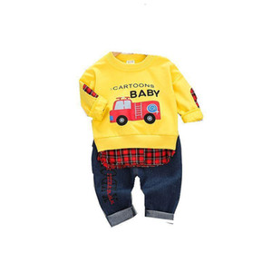 Spring Autumn Baby Kids Casual Clothes Children Boys Girls Cartoon Long Sleeve Letter Pants 2Pcs sets Toddler Fashion Tracksuit