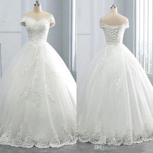 2021 Impressionante Decote em v Inverno Vestidos de Laço de Laço Appliques Plus Size Off The Ombro Ball Vestido Vestido de Novia Formal vestido de noiva