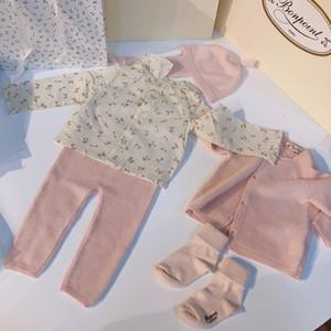 Симпатичные новорожденных девочек Свитера Комплекты для новорожденных мальчиков вязаный свитер + брюки + рубашка + шапка 4Piecse / Костюм Зима младенца вязания Одежда