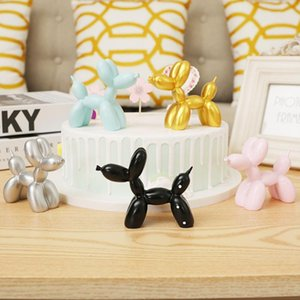 Cute Small Balloon dog Resin Crafts Sculpture Gifts Fashion Cake baking Home Decorations Party Dessert Desktop Ornament Two styl