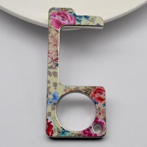 Лиопардовые цветы Печать без прикосновения беззаконного дверных открывающихся открывающих двери EDC Инструмент бесконтактный стартер брелок с прикосновением к экрану лифта 2 4YBA C2