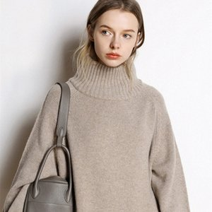 Cashmere sweater women's new high-neck cashmere sweater women's solid color long loose sweater large size knit bottoming shirt 201017