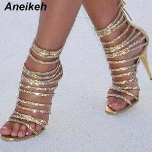Aneikeh Bling Bling Bling Gold Crystal Sandals Fino Gladiador Gladiador Sandal Sapatos Stiletto Salto Bombas de Casamento Rhinestone Cage Sandal Q1110
