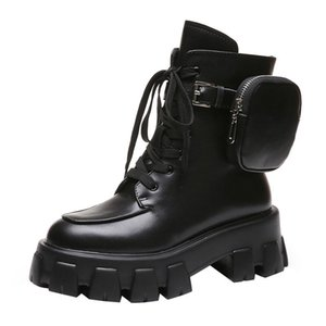 2020 New Product Pocket Motorcycle Boots Women Platform Shoes Lace Up Thick-soled Black Shoes Woman Half Botas Mujer