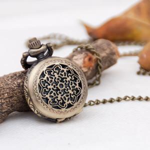 Petit Bronze Gold Crown Pocket Watch Quartz Mouvement 27mm Collier Vintage Version coréenne Pull Bijoux Suspending Watch