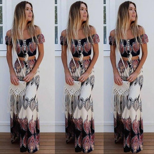 Boho Print Summer Women Sexy Strapless Two Piece Set Slash Neck Short Sleeve Crop Tops amp;Long Skirts Beach Maxi Skirts Suit