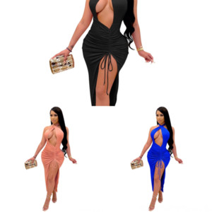 PDT Bayan Tasarımcı Moda Boyutu Kaşkorse Twodress U Boyun Kolsuz Kalem Elbiseleri Mavi Sashes Seksi Yaz Iki Pie Elbise Donanması Artı