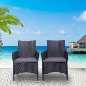Waco Patio Rattan Canapé Chair Set, 2 pcs Chaise de loisirs pour jardin pour piscine Café Balcon Courtyard Black